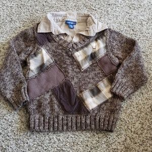 Patchwork Sweater with Mock Undershirt 5 Yr